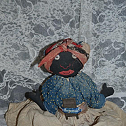 Sweet Old Black Cloth Doll Rag Doll Unusual Button Eyes Sewn on Features