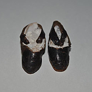 Old Doll Shoes Soft Leather with Button Sweet for Small Doll
