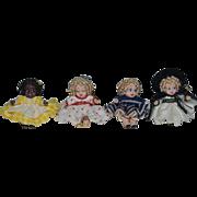 Vintage Doll Set Dollhouse Miniature Black Dolls White Dolls Tiny Artist Gail P. Cotterman FOUR Dolls BFF!