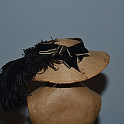 Old Doll Straw Hat w/ Bow and Feathers French Fashion Sweet! Wide Brim