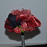 Wonderful Doll Floppy Velvet Hat with Pom Pm and flowers Feathers