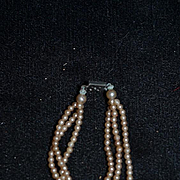 Old Miniature Three Strand Faux Pearl Necklace for Doll