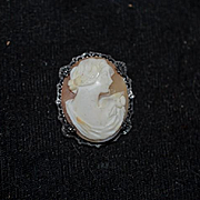 Old Shell Cameo Brooch Perfect for Doll