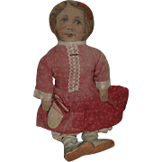 Antique Doll Large Cloth Doll Dressed w/ Button up Leather Shoes Boots