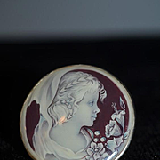 Vintage Sterling Shell Ring W/ Girl Portrait Unusual Funky Fun