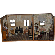 Antique Doll Wood Room Box Miniature Room Dollhouse w/ French Glass Doors and Windows Filled