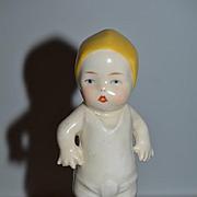 Old China Head Doll Powder Shaker Jar Character