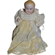 Old Doll All Bisque Jointed Miniature Dollhouse Doll Christening Gown