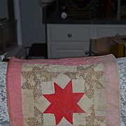 Wonderful Old Doll Quilt  Star Center Beautiful Miniature Quilt