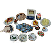 Old Vintage Doll Montauban A Rochelle French Porcelain & Food Dish & More Dollhouse Lot