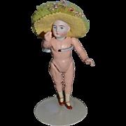 Antique Doll Miniature Bisque Head Dollhouse Fancy Doll Hat