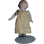 Antique Doll Miniature All Bisque Jointed Arms Character Doll Dollhouse