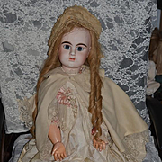 Antique Doll French Bisque BeBe Denamur Closed Mouth Gorgeous Dressed!! HUGE 33""