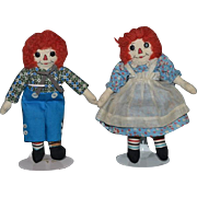 Vintage Doll Raggedy Ann & Andy Cloth Doll Set Button Eyes Miniature