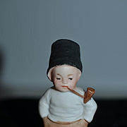 Old Doll Miniature Bisque Boy W/ Pipe All Bisque Dollhouse
