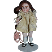 Antique Doll Miniature All Bisque Dollhouse Glass Eyes Sweet!