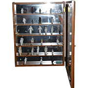 Wonderful Doll Wood & Glass Cabinet Filled with Miniature Frozen Charlotte Dolls China Head Dollhouse