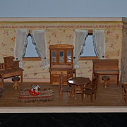 Antique Doll Miniature Dollhouse Room Box Roombox W/ Furniture