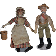 Antique Doll Schoenhut Wood Carved Man & Woman Original Clothing