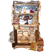 Wonderful Old Doll Wood Cabinet Filled W/ Hats Material Remnants Pillow Hat Stand For Fashion Doll Mirror Back Miniature