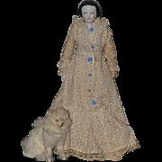 Wonderful Old Miniature Fur Dog W/ Chain Leash For Doll