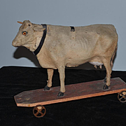 Antique Doll Pull Toy Cow on Wood Plank & Metal Wheels Wonderful Size