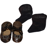 Old Wonderful Small Leather Doll Shoes with Buckle and bows & Socks