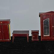 Wonderful Wood Miniature Doll Furniture Mirror Wardrobe Cabinet Table Closet
