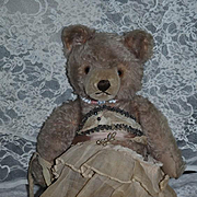 Old Teddy Bear Jointed Mohair W/ Crier All Dressed Up
