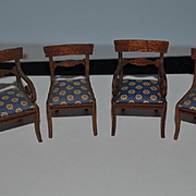Old Doll Miniature Wood Dollhouse Chairs Upholstered