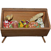 Vintage Doll Miniature Wood Dollhouse Bread Bin W/ Food Cakes Bread Fruit Large Set of Dollhouse Food