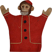 Old Monkey Mohair Glass Eyes Bellhop Puppet Sweet