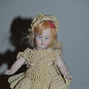 Antique Doll All Bisque Miniature Jointed Dollhouse Dressed