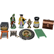 Vintage & Artist Doll Miniature Lot For Dollhouse Figurines Copper Trunk Pitcher Picture