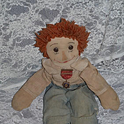 Old and Wonderful Cloth Doll Raggedy Andy Sweet Button Eyes and Sewn on Features w/ Old Medal