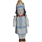 Unusual All Bisque Indian Doll W/ Molded Head Piece