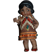 Antique Doll Miniature German All Bisque Jointed Indian Girl Dollhouse