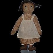 Antique Doll Raggedy Ann Volland ? Cloth Doll Rag Doll Shoe Button Eyes Wonderful face