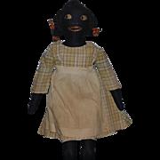 Old Doll Black Cloth Doll Side Glancing Eyes Sewn Features Wonderful Folk Art