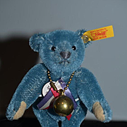 Vintage Steiff Teddy Bear Miniature Jointed Mohair BLUE w/ Tags and Button