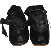 Antique Doll Child Leather Button Up Shoes Boots W/ Tassel Sweet!