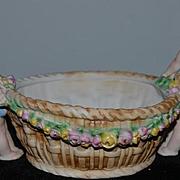 Wonderful Old Bisque Porcelain Cherub Children Holding Side of Bowl Basket