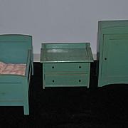 Old Doll German Dollhouse Furniture Bedroom Zum Tunnel Wood Set Miniature