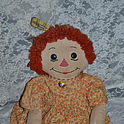 Old Big Raggedy Ann Cloth Rag Doll BIG Button Eyes