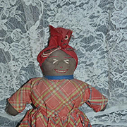 Old Doll Black Cloth Rag Doll Sewn Features