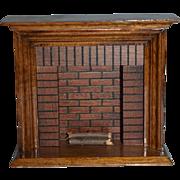 Vintage Doll Miniature Dollhouse Wood Fireplace Artist made