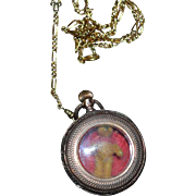 Old Locket Watch Fob W/ Miniature Artist Winnie The Pooh Teddy Bear CUTE Necklace Geneva