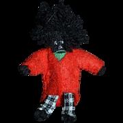 Miniature Artist Made Golliwog Black Cloth Doll Dollhouse