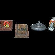 Old Doll Miniature Dollhouse Lot Figurine Metal Cigar Box Metal Bed Warmer & More