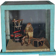 Old Miniature Glass Dome Diorama Monkey Playing Music W/ Miniatures Dollhouse